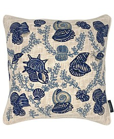 """Seashell Embroidery Pillow, 20"""" x 20"""""""