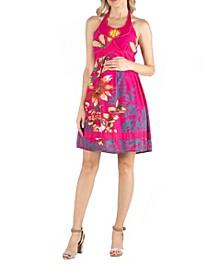 Floral Print Beaded Halter Top Maternity Dress
