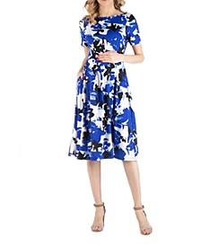 Abstract Print Maternity Midi Dress with Pockets