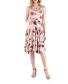 Sleeveless Floral Maternity Midi Dress