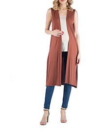 Sleeveless Long Maternity Cardigan with Side Slit