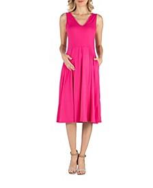 Fit and Flare Sleeveless Maternity Midi Dress with Pockets