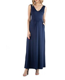 Maxi Maternity Sleeveless Dress with Pockets