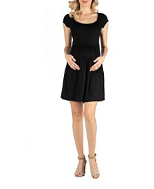 Scoop Neck Babydoll Maternity Dress with Cap Sleeves