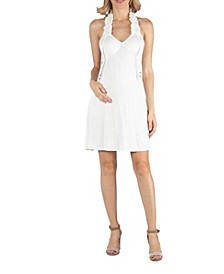 Halter Top Knee Length Maternity Dress with Ruffle Detail