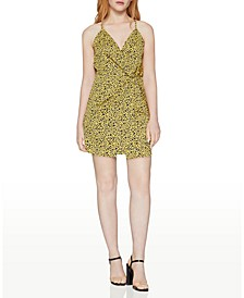 Faux-Wrap Animal-Print Mini Dress