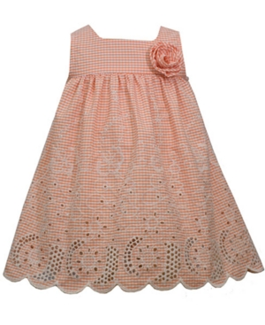 Bonnie Baby Baby Girls Embroidered Gingham Eyelet Dress