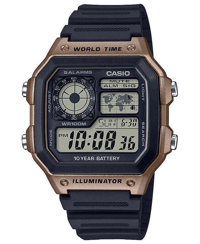 Casio - Men's Digital Black Resin Strap Watch 42.1mm