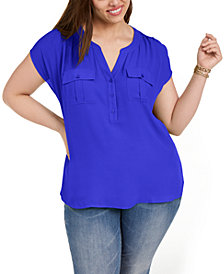 INC Plus Size Woven-Front V-Neck Top, Created for Macy's