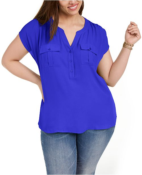 INC International Concepts INC Plus Size Woven-Front V-Neck Top, Created for Macy's