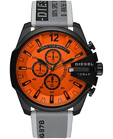 Men's Chronograph MegaChief Gray Leather Strap Watch 51mm
