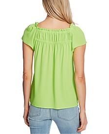 Gathered-Neck Short-Sleeve Top