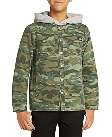 Big Boys Camouflage Twill Shacket with Quilted Lining Hood Jacket