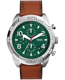 Men's Chronograph Bronson Brown Leather Strap Watch 50mm