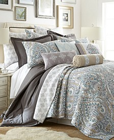 Rome Damask Reversible Full/Queen Quilt Set
