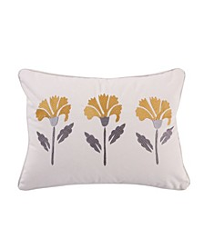 """St. Claire 14"""" x 18"""" Embroidered Floral Decorative Pillow"""