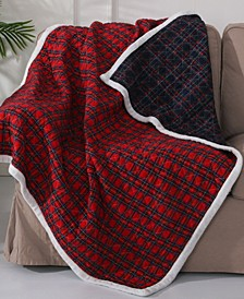 Plaid Sherpa Trim Reversible Quilted Throw