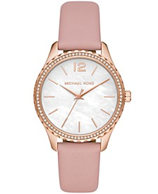 Layton Three-Hand Powder Blush Leather Watch