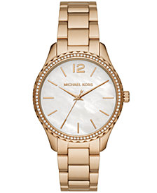 Michael Kors Layton Three-Hand Gold-Tone Stainless Steel Watch