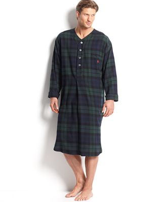 Polo Ralph Lauren Men's Plaid Flannel Pajama Nightshirt ...