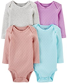 Baby Girls 4-Pk. Printed Cotton Pointelle Hearts Bodysuits