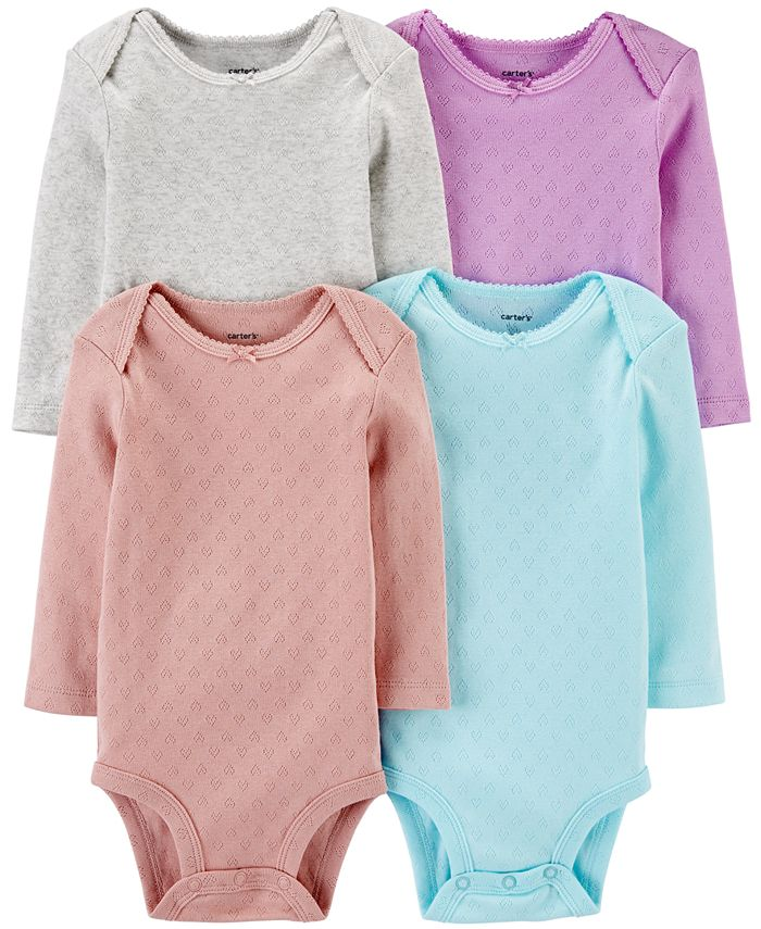 Carter's - Baby Girls 4-Pk. Printed Cotton Pointelle Hearts Bodysuits