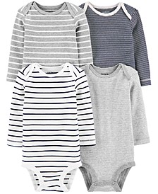 Baby Boys or Girls 4-Pk. Striped Cotton Bodysuits