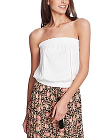 Strapless Lace-Inset Top