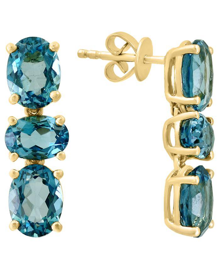 LALI Jewels - London Blue Topaz Oval Drop Earrings (8 ct. t.w.) in 14k Gold