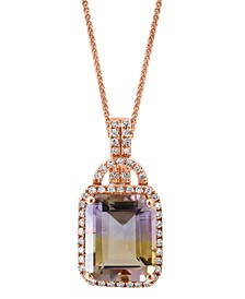 "LALI Jewels Ametrine (4-1/2 ct. t.w.) & Diamond (1/5 ct. t.w.) 18"" Pendant Necklace in 14k Rose Gold"