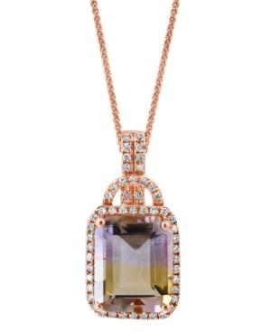 "Ametrine (4-1/2 ct. t.w.) & Diamond (1/5 ct. t.w.) 18"" Pendant Necklace in 14k Rose Gold"