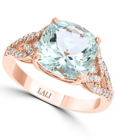 LALI Jewels Aquamarine (3-1/2 ct. t.w.) & Diamond (1/3 ct. t.w.) in 14k Rose Gold