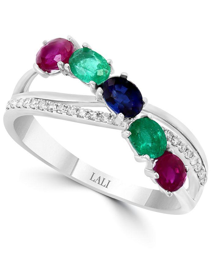 LALI Jewels - Multi-Gemstone (7/8 ct. t.w.) & Diamond (1/10 ct. t.w.) Ring in 14k White Gold