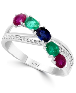Multi-Gemstone (7/8 ct. t.w.) & Diamond (1/10 ct. t.w.) Ring in 14k White Gold