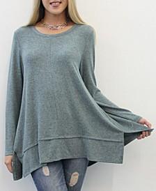 Women's Long Sleeve Pleat Button Back Top
