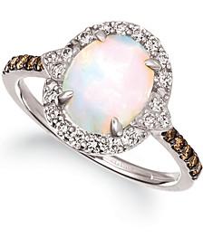 Neopolitan Opal (1-1/5 ct. t.w.) & Diamond (3/8 ct. t.w.) Ring in 14k White Gold