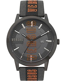 Men's Barbes Solar Black & Grey Canvas Strap Watch 44mm