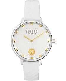 Women's La Villette White Leather Strap Watch 36mm