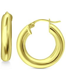 """Small Chunky Hoop in Sterling Silver or 18k Gold Over Sterling Silver,  1/2"""", Created for Macy's"""