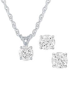 2-Pc. Set Certified Diamond Pendant Necklace & Matching Stud Earrings (1/2 ct. t.w.) in 14k White Gold