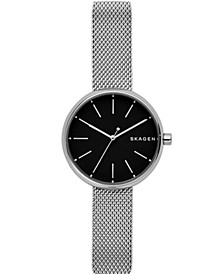 Women's Signatur Stainless Steel-Mesh Black Dial Watch 30mm