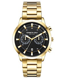 Men's Multifunction Dual Time Gold plated Stainless Steel Watch on Gold plated Stainless Steel Bracelet, 44mm