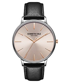 Men's 3 Hands Slim Silver-tone Stainless Steel Watch on Black Genuine Leather Strap, 42mm