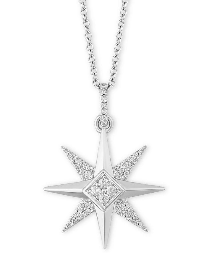"Hallmark Diamonds - Diamond Celestial Star Joy Pendant Necklace (1/6 ct. t.w.) in Sterling Silver, 16"" + 2"" extender"