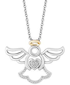 "Angel Blessings pendant(1/20 ct. t.w.) in Sterling Silver & 14k Gold, 16"" + 2"" extender"