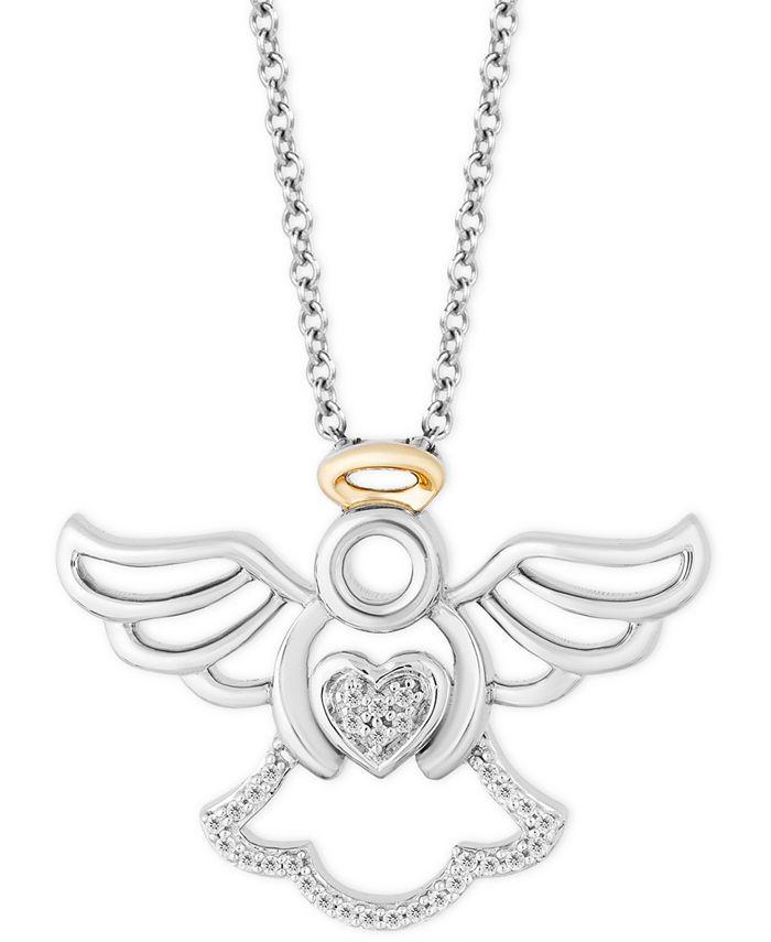 "Hallmark Diamonds - Diamond Angel Pendant Necklace (1/20 ct. t.w.) in Sterling Silver & 14k Gold, 16"" + 2"" extender"
