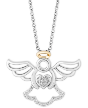 Angel Blessings pendant(1/20 ct. t.w.) in Sterling Silver & 14k Gold