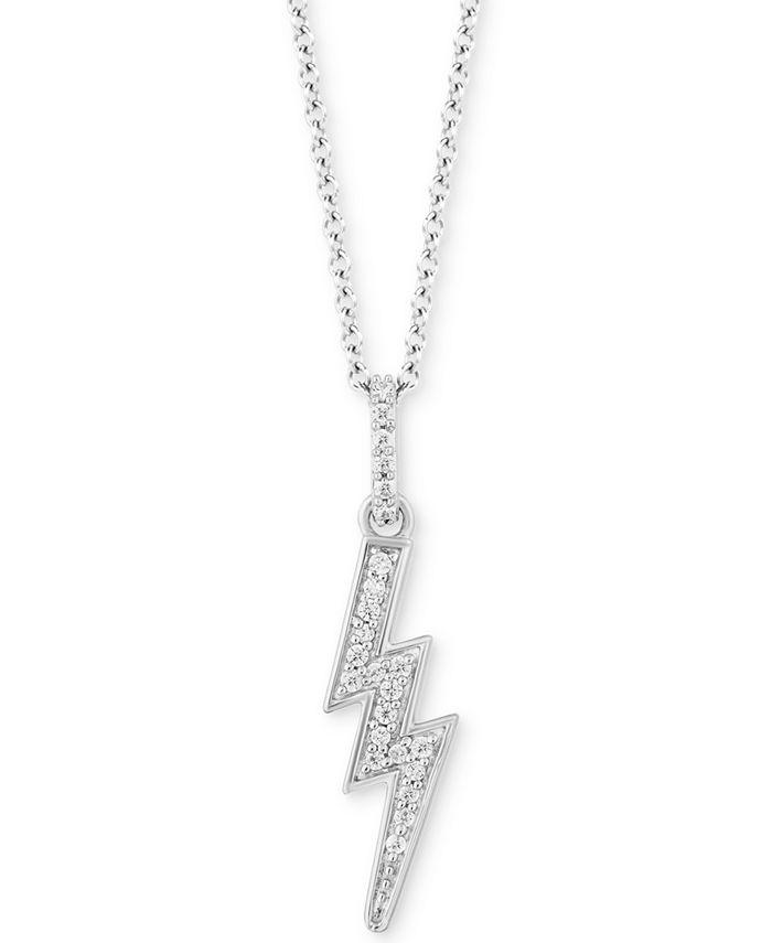 Hallmark Diamonds - Diamond Lightening Bolt Pendant Necklace (1/10 ct. t.w.) in Sterling Silver