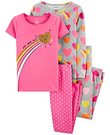 Little Girls 4-Pc. Cotton Heart Pajama Set