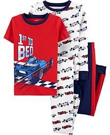 Big Boys 4-Pc. Race Car Printed Cotton Pajamas
